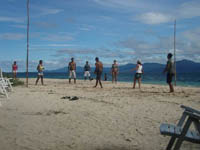 Playing Voleyball at Isla Aguja